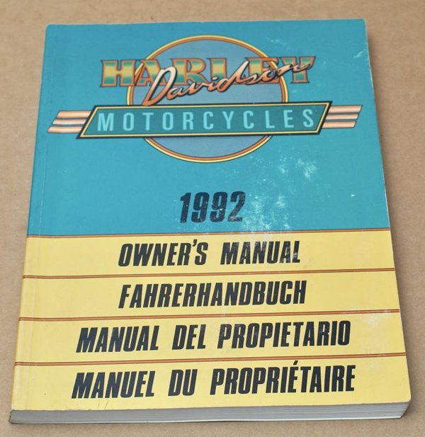 Harley original Fahrerhandbuch owners manual all Modells alle Modelle 1992