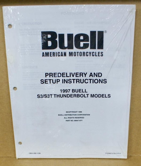 Buell original Predelivery and Setup Indurctiones S3 / S3T Thunderbolt 97