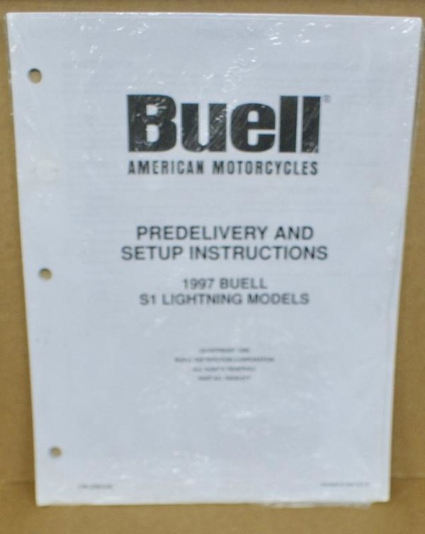 Buell original Predelivery and Setup Instucions S1 Lightning 97