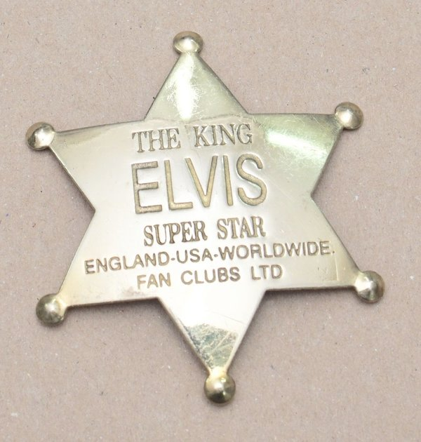 Elvis Presley Sheriff Stern Emblem Pin Star Brass Messing Button Anstecknadel