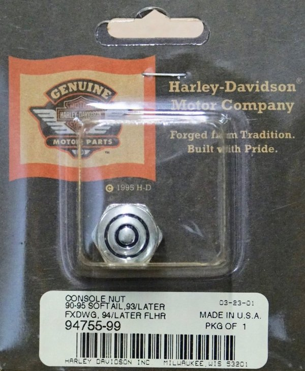 "Harley original Dash Cover Tank Konsolen Mutter ""Bullseye"" chrom Console Nut"